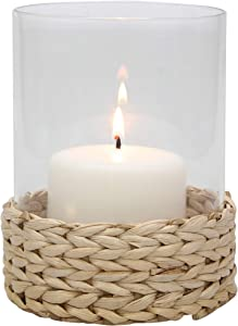 Stonebriar Braided Rope Wrapped Pillar Candle Holder, Clear