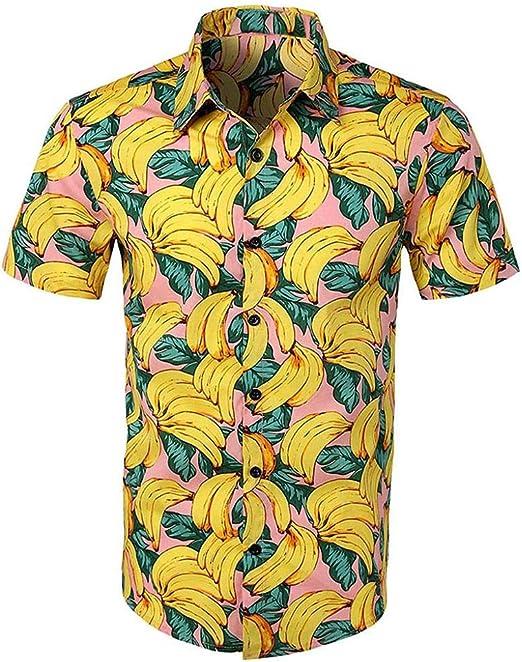 VJGOAL Hombres Camisa con Estampado Floral Hawaiana botón de la Solapa Camiseta de Manga Corta Verano Casual Blusa de Playa Tops