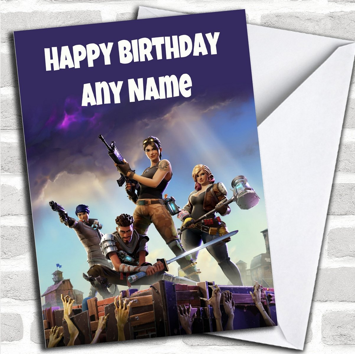 Personalised Fortnite Game Childrens Birthday Card Party Animal Print