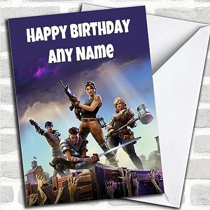 Tarjeta de cumpleaños para niños, con diseño de Fortnite ...