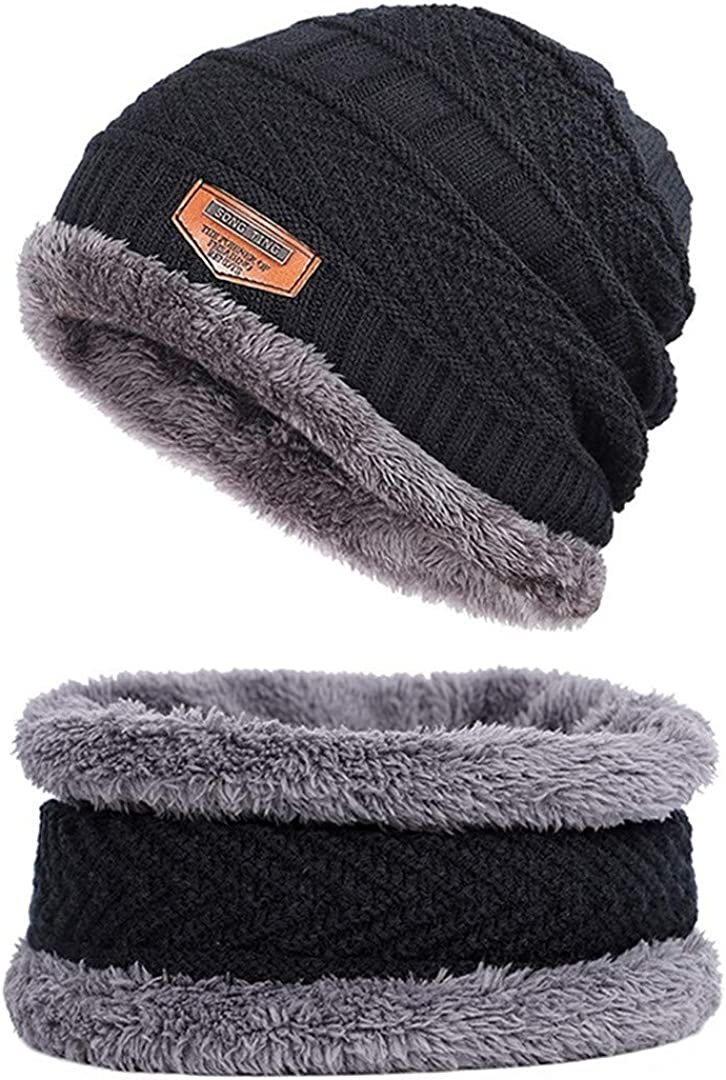 Men Beanies Knit Hat Winter Scarf Knitted Hat Caps Mask Warm Baggy Winter Hats for Men Women