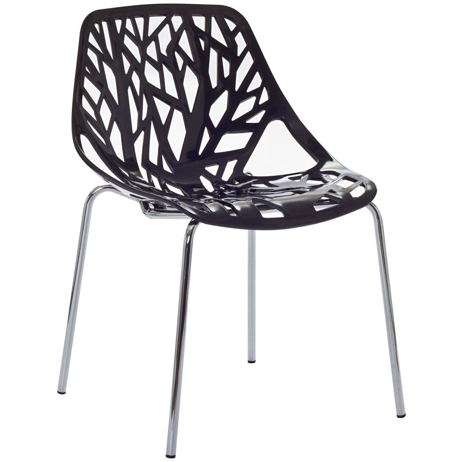 Modern Dining Chair, Black, Outdoor and Indoor