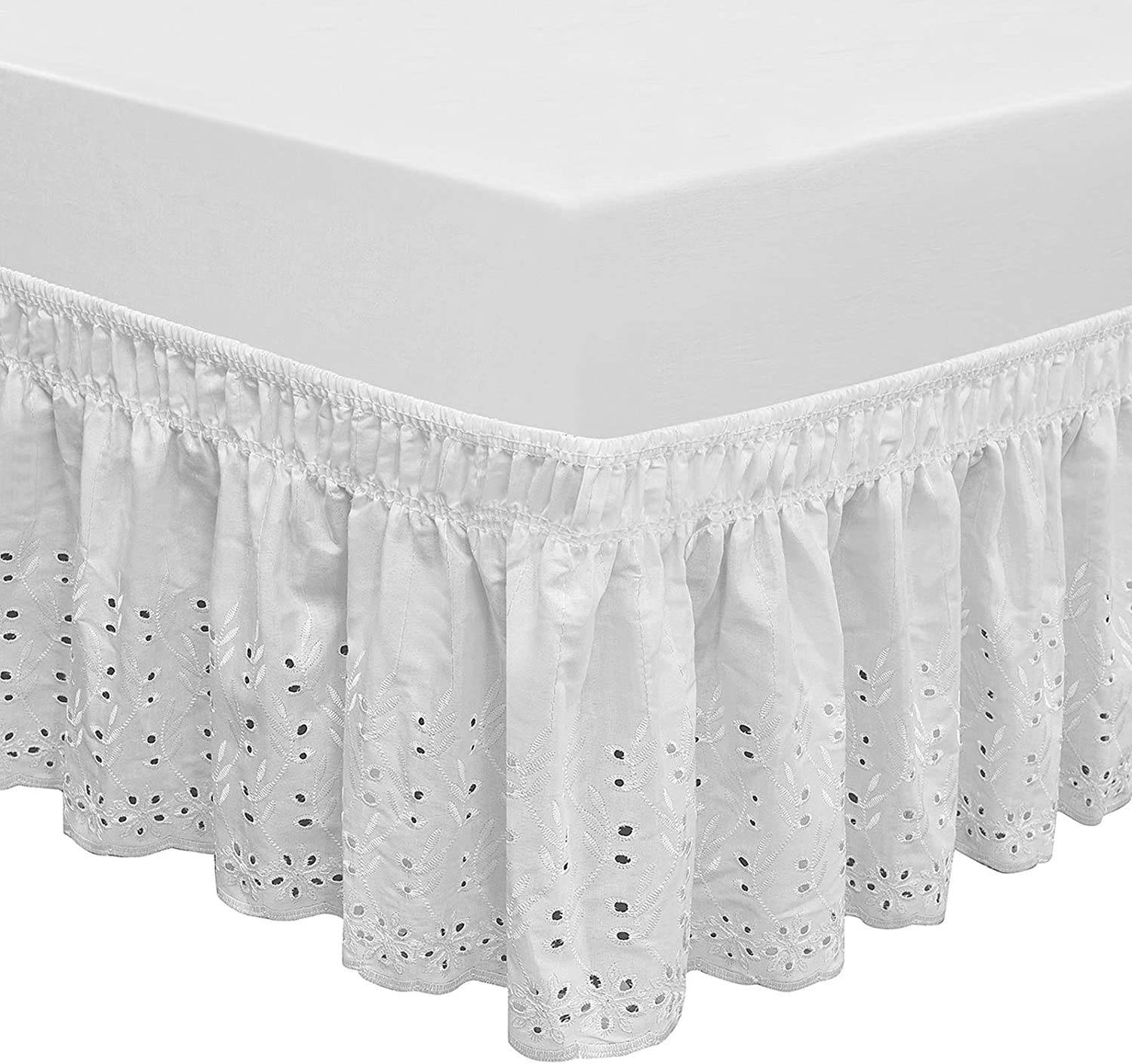 Lace Wrap Bed Skirt with Elastic Ruffle Bedding Dressing 14 Inch Drop All Sizes