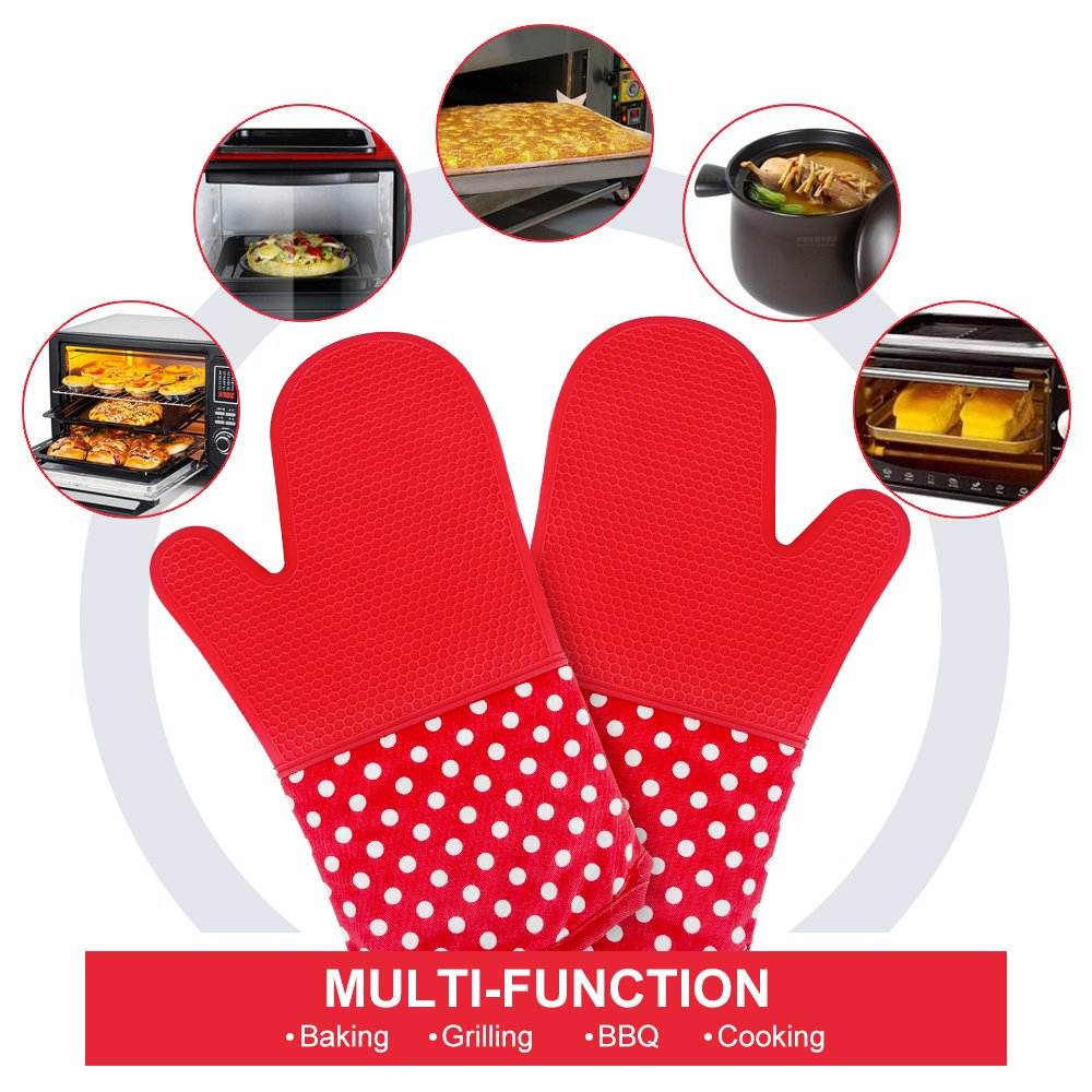 KEDSUM Heat Resistant Silicone Oven Mitts, 1 Pair of Extra Long Potholder Gloves with Bonus 1 Pair of Mini Cooking Pinch Grips, Non-Slip Cotton Lining Kitchen Glove for Baking, Barbeque, Red by KEDSUM (Image #4)