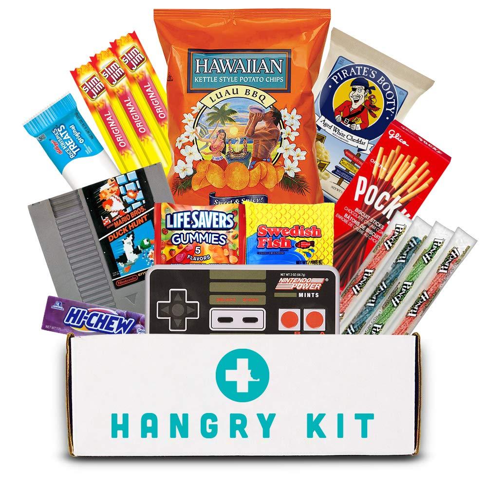 HANGRY KIT - Gamer Kit - Hard Plastic Resealable Case - Snacks Variety and Gift Assortment