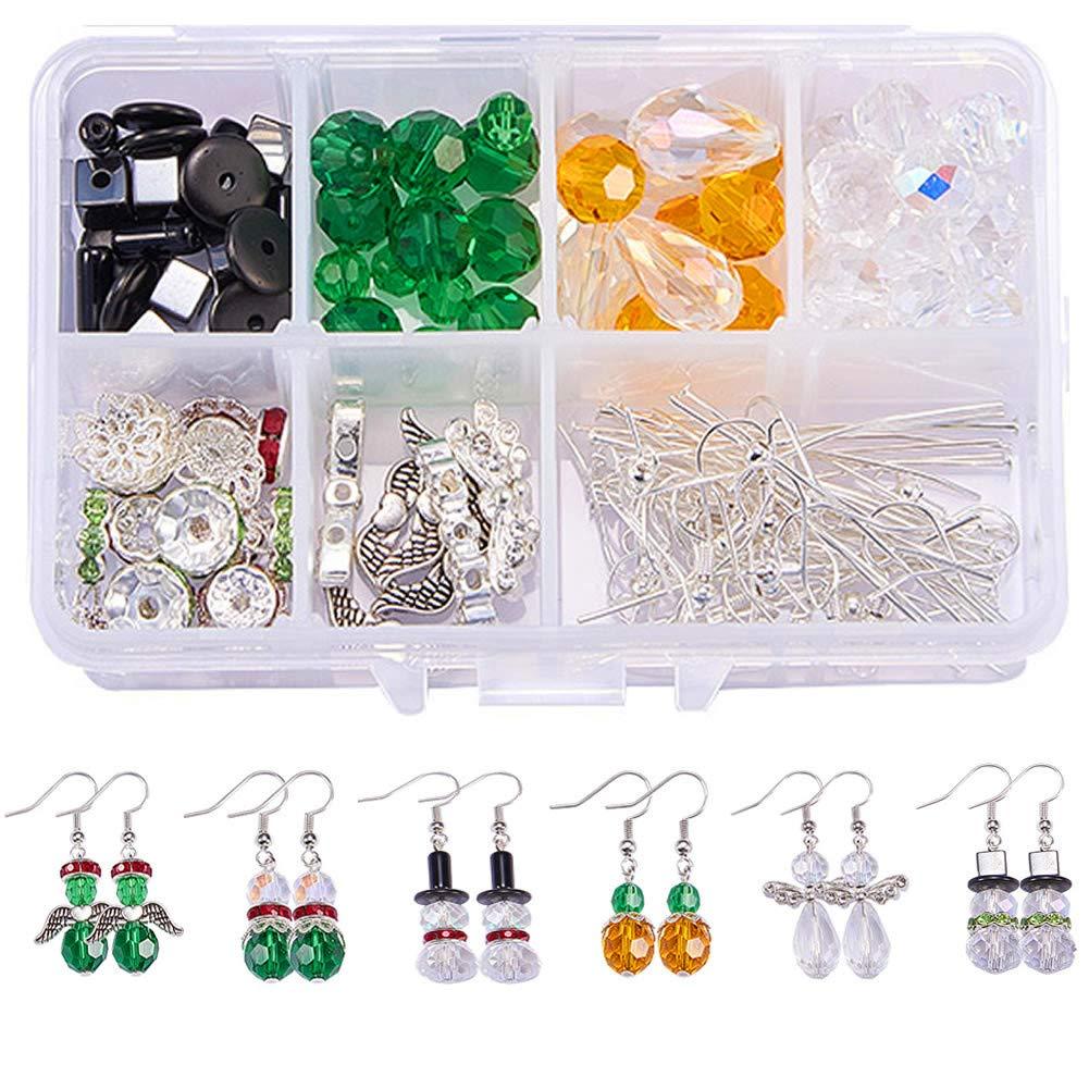 SUNNYCLUE 1 Set Crystal Christmas Bead Earring Making Kits DIY 6 Pairs White Snowman Red Angel Glass Bead Christmas Tree Dangle Earrings DIY-SC0002-84-7SC