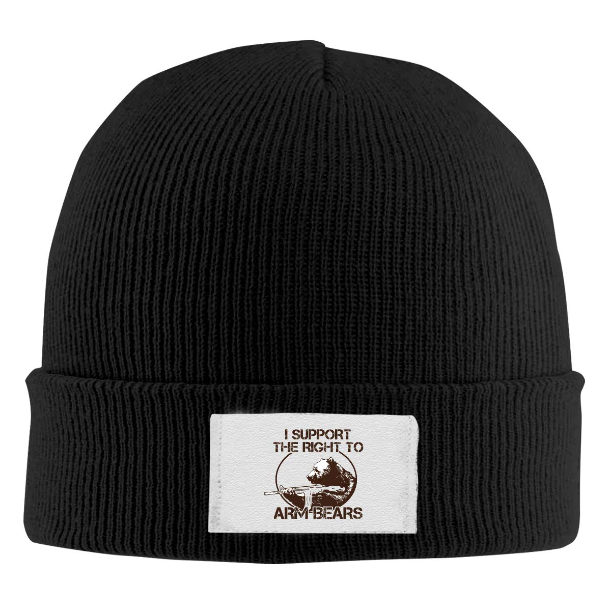 I Support The Right to Arm Bears Knitted Hat Beanies Cap Funny Unisex Winter Black