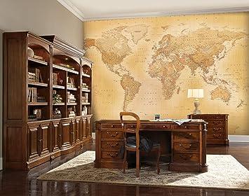 1 Wall Papier peint mural avec motif carte du monde vintage: Amazon ...