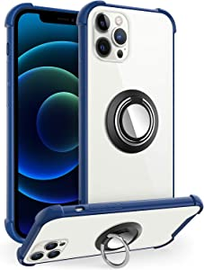 DAUPIN Compatible with iPhone 12 Pro Case/12 Case Clear with 360 Rotation Metal Ring Holder Work for Magnetic Car Phone Mount, Soft TPU Bumper PC Hard Back Protective Case for Women (Blue)