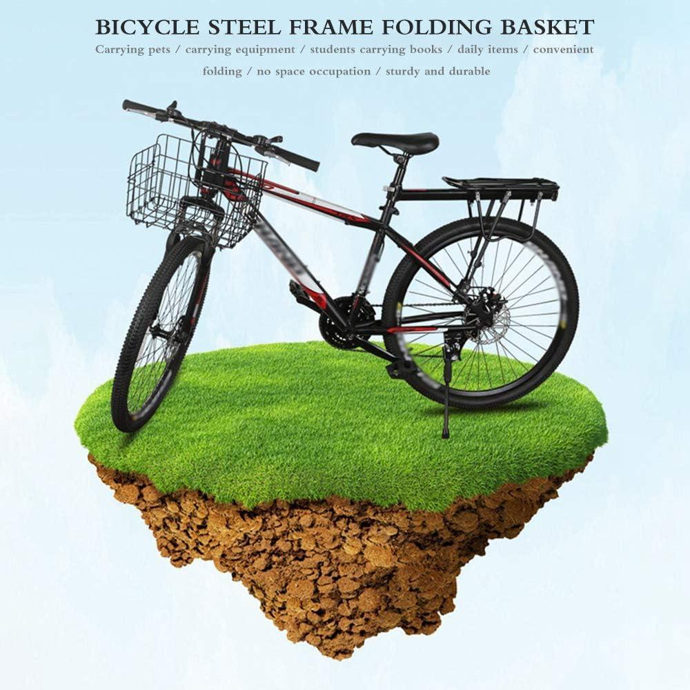 Plegable Cesta Delantera Para Bicicleta Apto Para La Mayoría De Bicicletas Plegables Y Bicicletas De Montaña Tamaño Desplegado 33 X 19 X 23 Cm N A Malla De Alambre Con Tornillos Bolsas