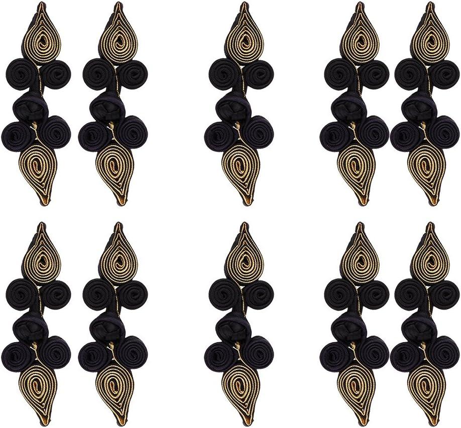 Oro MagiDeal 10 Pedazos Botones Chino Cierre de Rana Bot/ón Nudo Uso para Artesan/ías Bricolaje