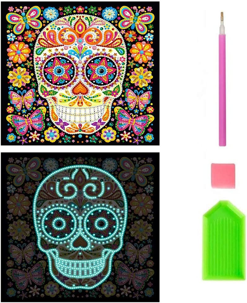 DIY Diamond Painting Kits for Adults,Beginner Embroidery Arts Craft Decor Glow at Home Luminous Skull Flower 11.8x11.8 in by Tangbr