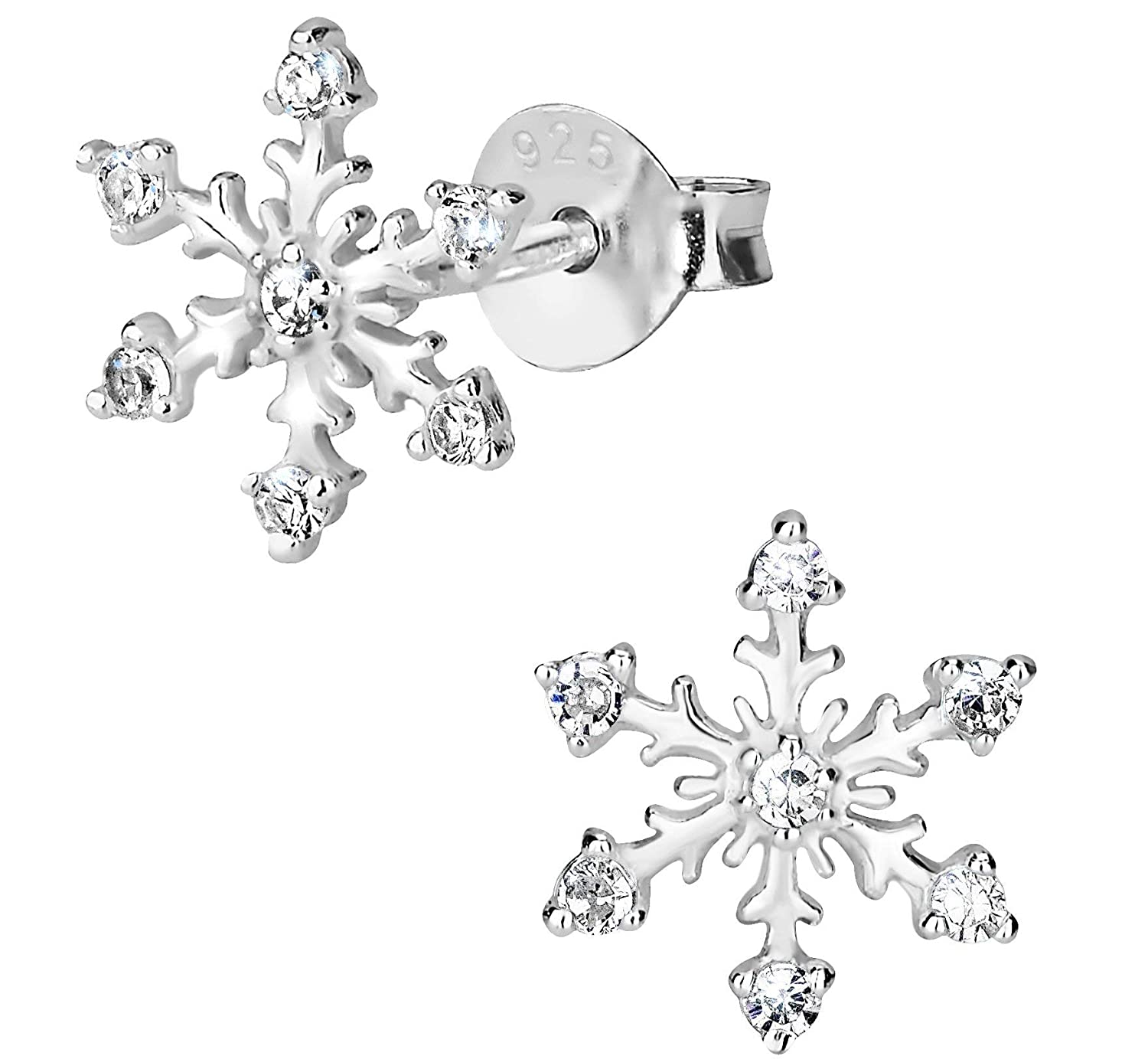 Hypoallergenic Sterling Silver Clear CZ Simulated Diamond Snowflake  Earrings for Kids Penny    Piper UK 8ba1f870e403