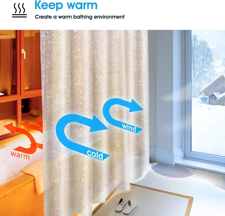 SPARIN Cortinas Baño Transparente Antimoho, Antibacteriana, Cortina de Ducha Impermeable EVA Guijarros Transparentes con 12 Ganchos Blancos [Respetuoso con el Medio Ambiente] [Lavable] [180x200cm]: Amazon.es: Hogar