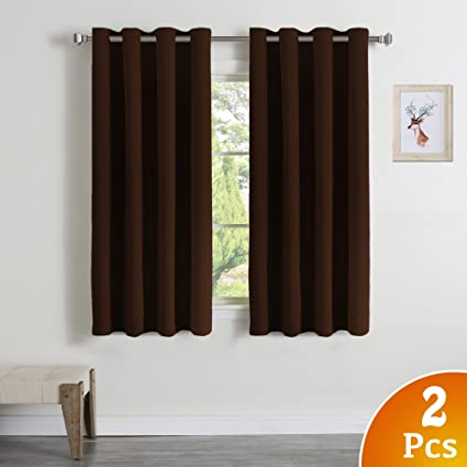 Bon Home Decoration Thermal Insulated Solid Ring Top Blackout Curtains/Drapes  For Bedroom Blackout Curtains For