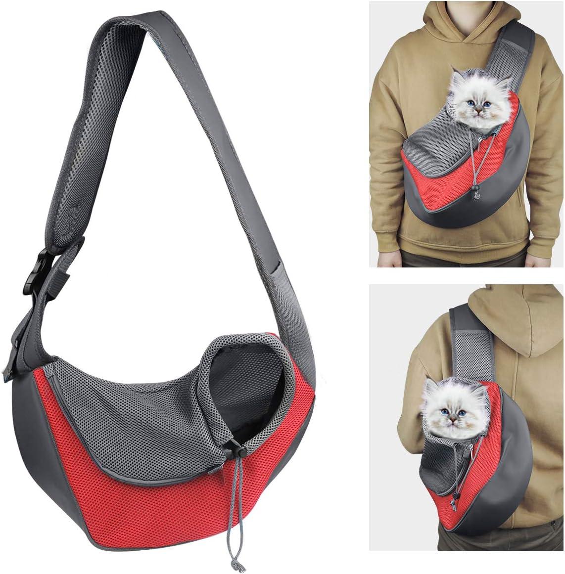 YouJia Pet Dog Sling Carrier, Breathable Mesh Travelling Pet Hands-Free Sling Bag Adjustable Padded Strap Front Pouch Single Shoulder Bag for Dogs Cats