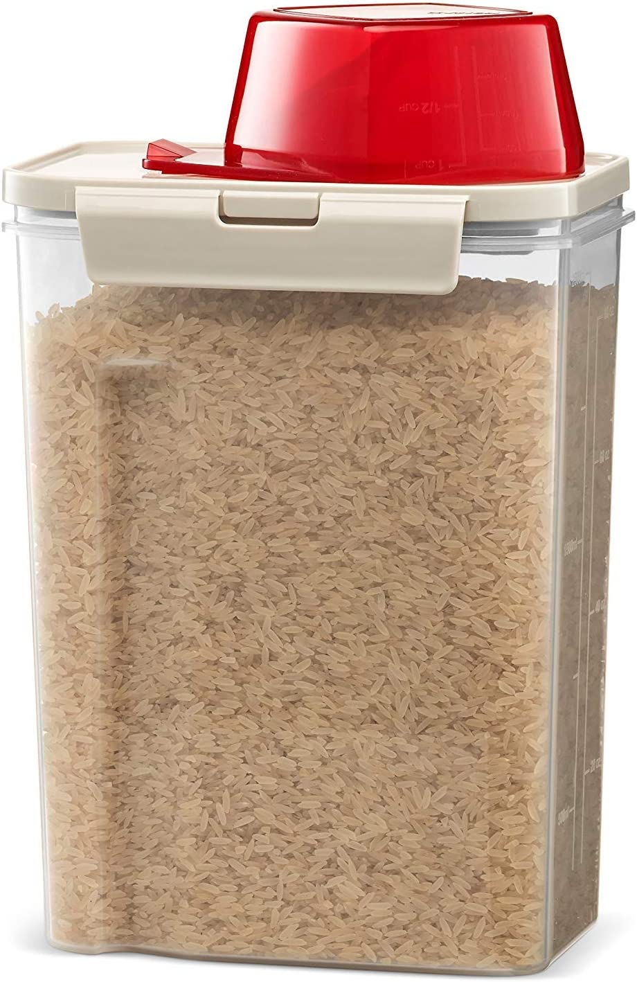 Komax Fresh Grain Set of 1 Rice Containers | 2-Quart Dry Food Storage Dispenser | Suitable for Rice, Pet Food & Grain Storage | With Lid & Measuring Scoop (1-cup) | BPA-Free & Dishwasher Safe