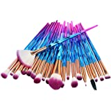 Apartner 20pcs Makeup Brushes Set Professional Face Brush for Foundation Concealer Blush Eye Shadow Eyebrow Eyeliner Beauty Makeup Kits - Blue Gradient