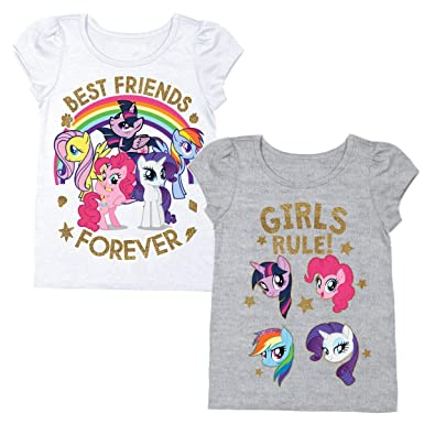 50687701d Amazon.com: My Little Pony Girls T-Shirt - 2 Pack Hasbro MLP Girls Short  Sleeve Puff Shirt - Rainbow Dash, Twilight Sparkle, Pinky Pie: Clothing