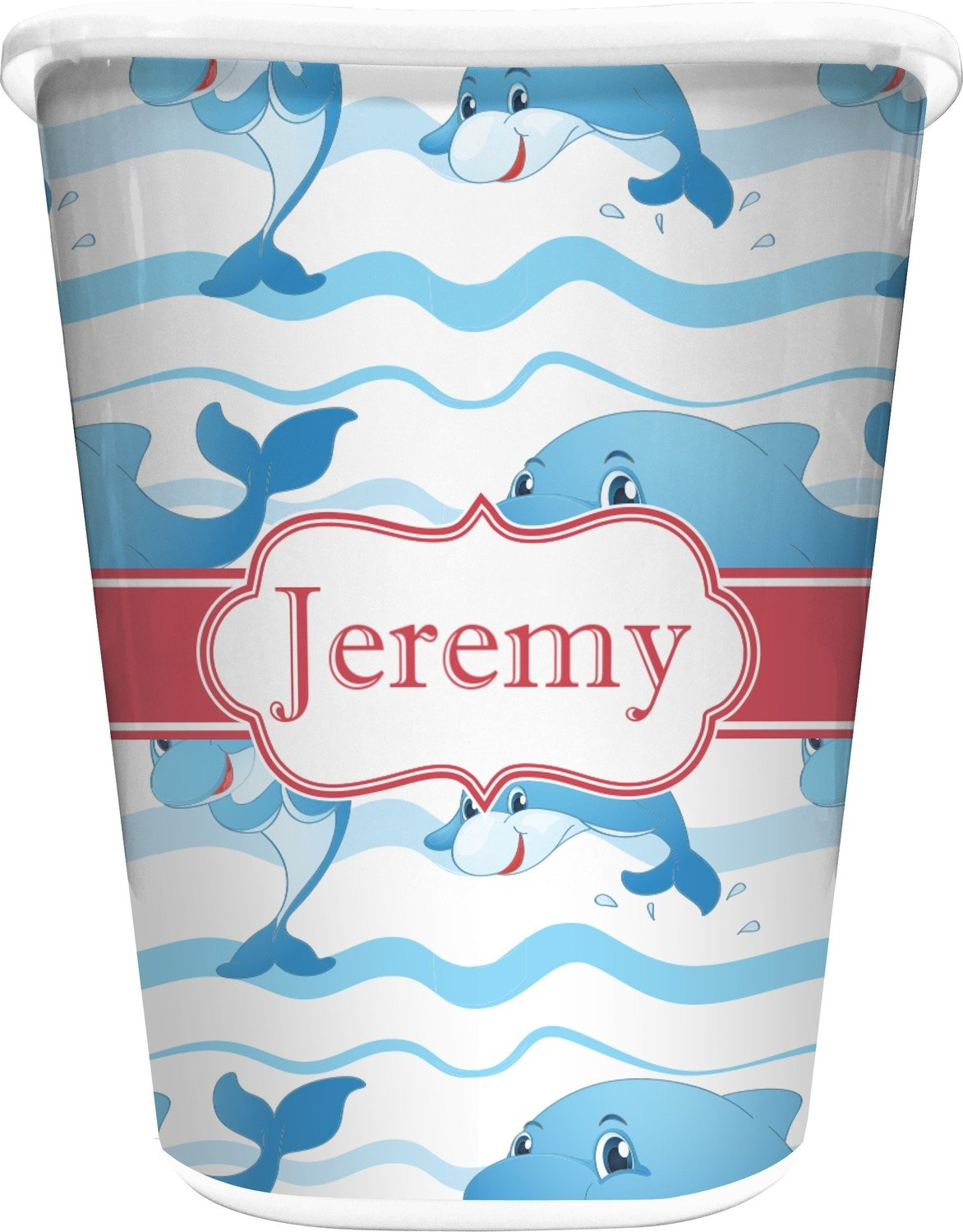 RNK Shops Dolphins Waste Basket - Single Sided (White) (Personalized)