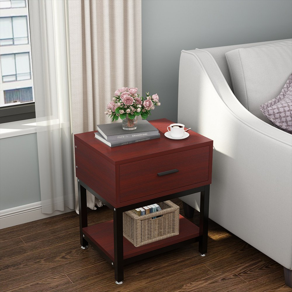 Night Stands, LITTLE TREE Side End Table with Drawer and Shelf for Bed Room Living Room, Beside Table with Storage, Metal Frame & Wood, Cherry by LITTLE TREE (Image #7)
