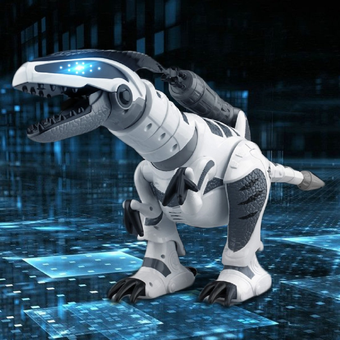 Yeezee Rmote Control Dinasour Toys,Wireless Large Shooting Rex, Walking, Dancing, Figure Gesture, Progammable,Robot for kids(White)