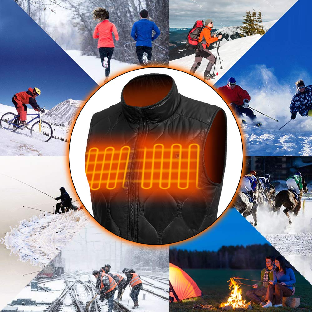 Dyefei Mens Heating Vest Washable Electric Heating Clothing for Winter Black
