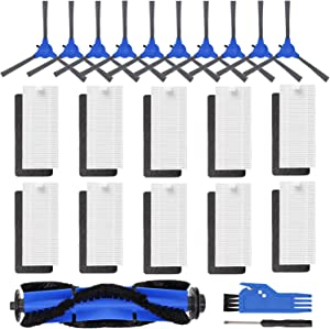 FFsign Replacement Parts for Eufy RoboVac 11S, RoboVac 15C, RoboVac 30, RoboVac 30C, RoboVac 12, RoboVac 35C Vacuum Filters Accessories Kit, 10 Pcs Side Brushes,10 Pcs Filter, 1 Roller Brush