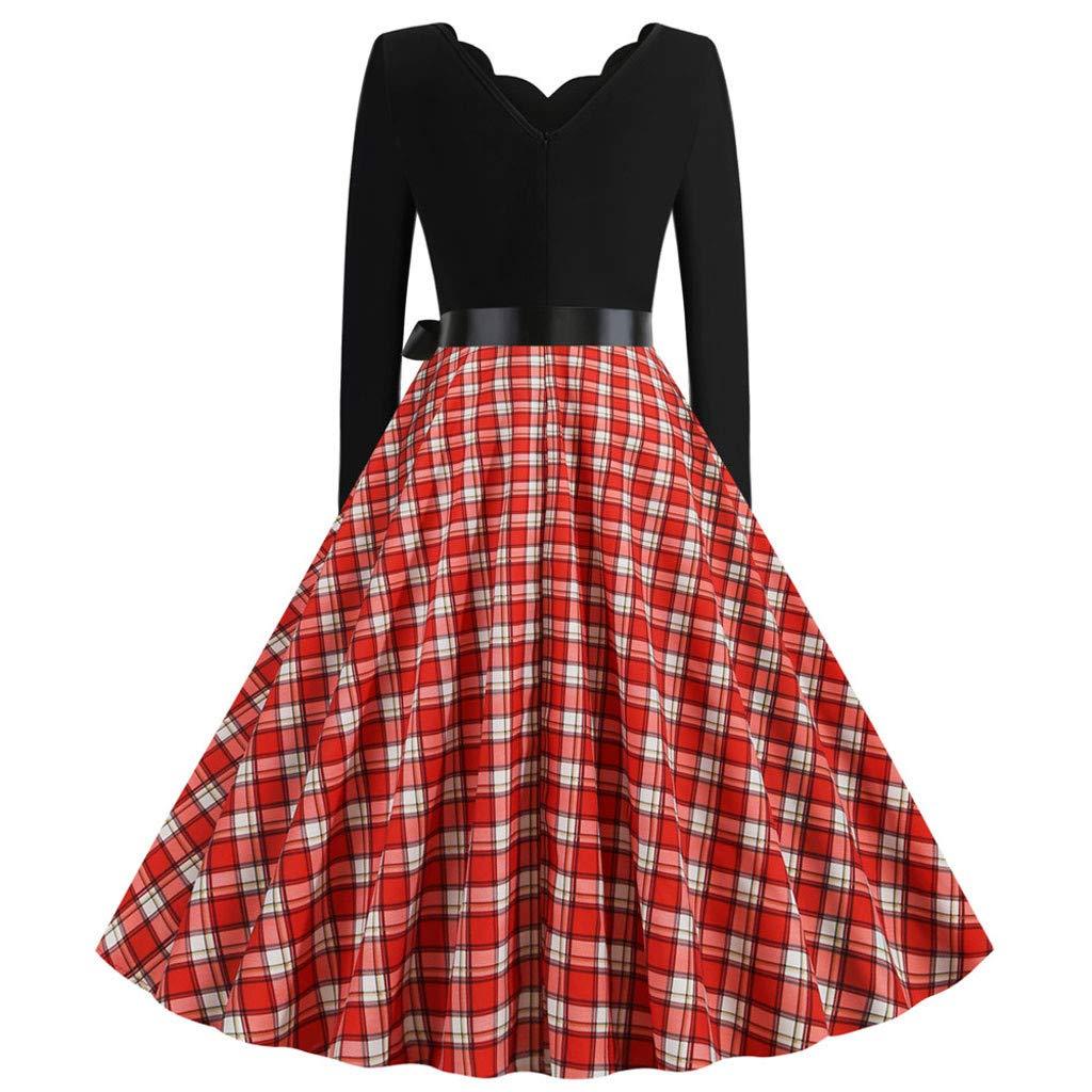 ZzZz Robe Femme Retro Manches Longues Patchwork Robes de Soir/ée De Bal de No/ël Big Swing Robe /Él/égantes Hepburn Fairy Tale Vintage Dress