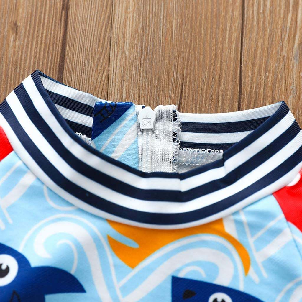 Amaone Kids Swimsuit Boys 0-18Months One Piece Swimming Costume Long Sleeve Cartoon Shark Print Children Swimwear for Summer Pool Beach Seaside
