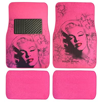 Pink Marilyn Monroe Print Design Carpet Car SUV Truck Floor Mats 4 PCS: Automotive