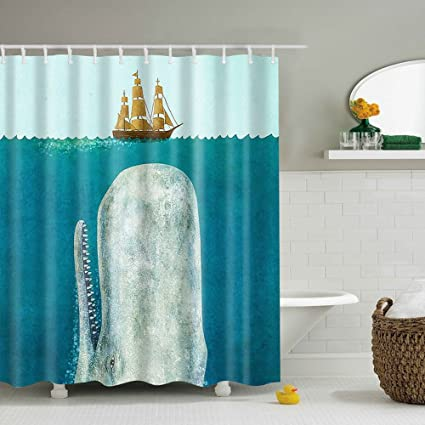 Messagee Sharks Sailing Hand Drawing Effect Fabric Waterproof Shower Curtain Lovely Decor Pleasing Design