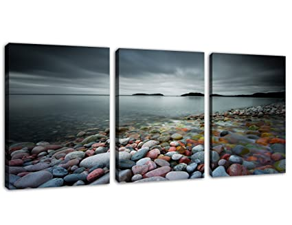 1e8932583f Canvas Wall Art Lake Beach Colorful Stones Cloudy Sky - 12
