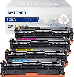 MYTONER Remanufactured Toner Cartridge Replacement for HP 125A CB540A CB541A CB542A CB543A CP1215 CM1312 (Black Cyan Magenta Yellow, 4-Pack)