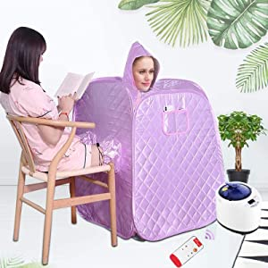 Kacsoo Portable Steam Sauna Spa, 2.2L Larger Sharing Two Person Spa Tent, 1000W Folding Home Spa Sauna Tent, Full Body Loss Weight, Personal Sauna with 9 Temperature Levels, Remote Control