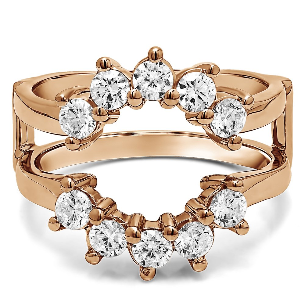 TwoBirch Sunburst Style Ring Guard with Gorgeous Round Stones with 1 carats of Cubic Zirconia in Rose Gold Plated Sterling Silver