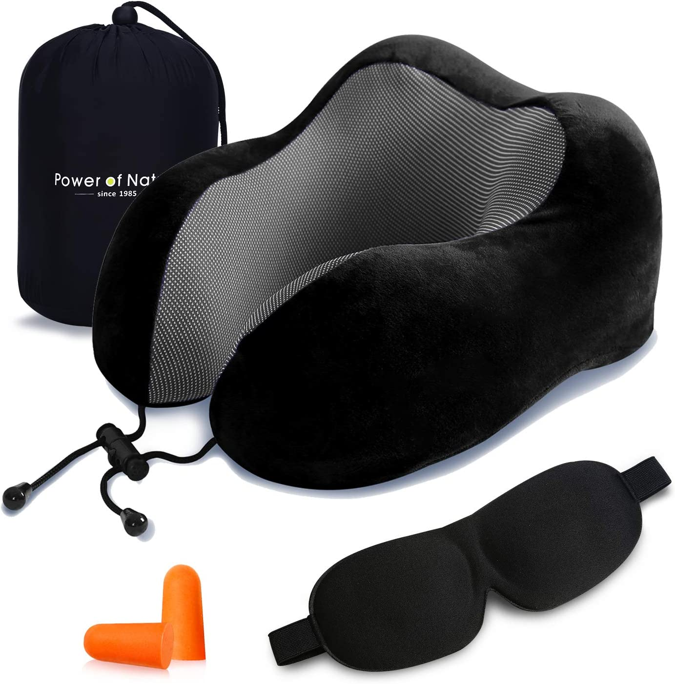 Power of Nature Travel Pillow Luxury Memory Foam Neck & Head Support Pillow Soft Sleeping Rest Cushion for Airplane Car & Home Best Gift(Black)