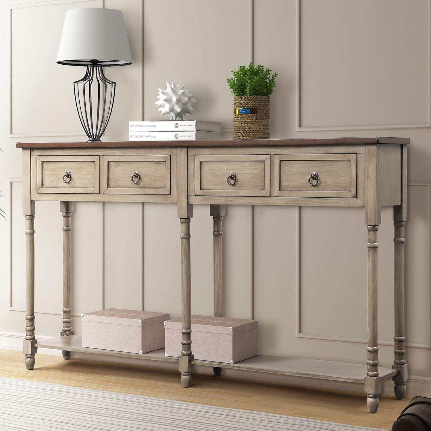 P PURLOVE Console Table Sofa Table with Storage for Entryway with Drawers and Shelf Rectangular Living Room Table(Antique Gray) by P PURLOVE