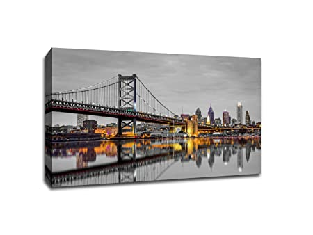 Philadelphia – Touch of Color Skylines – Gallery Wrapped Canvas 24×16 ToC