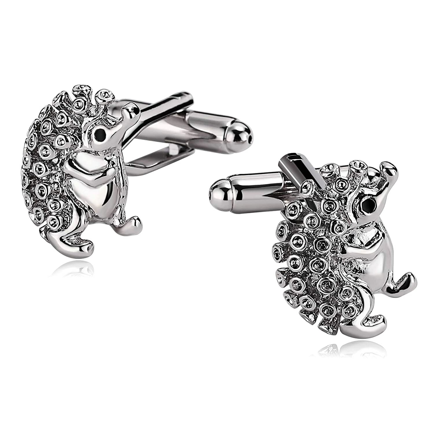Bishilin Jewellery Cuff Links Stainless Steel Cuff Links for Mens Animal Hedgehog Silver Shirt Tuxedo Anniversary Business