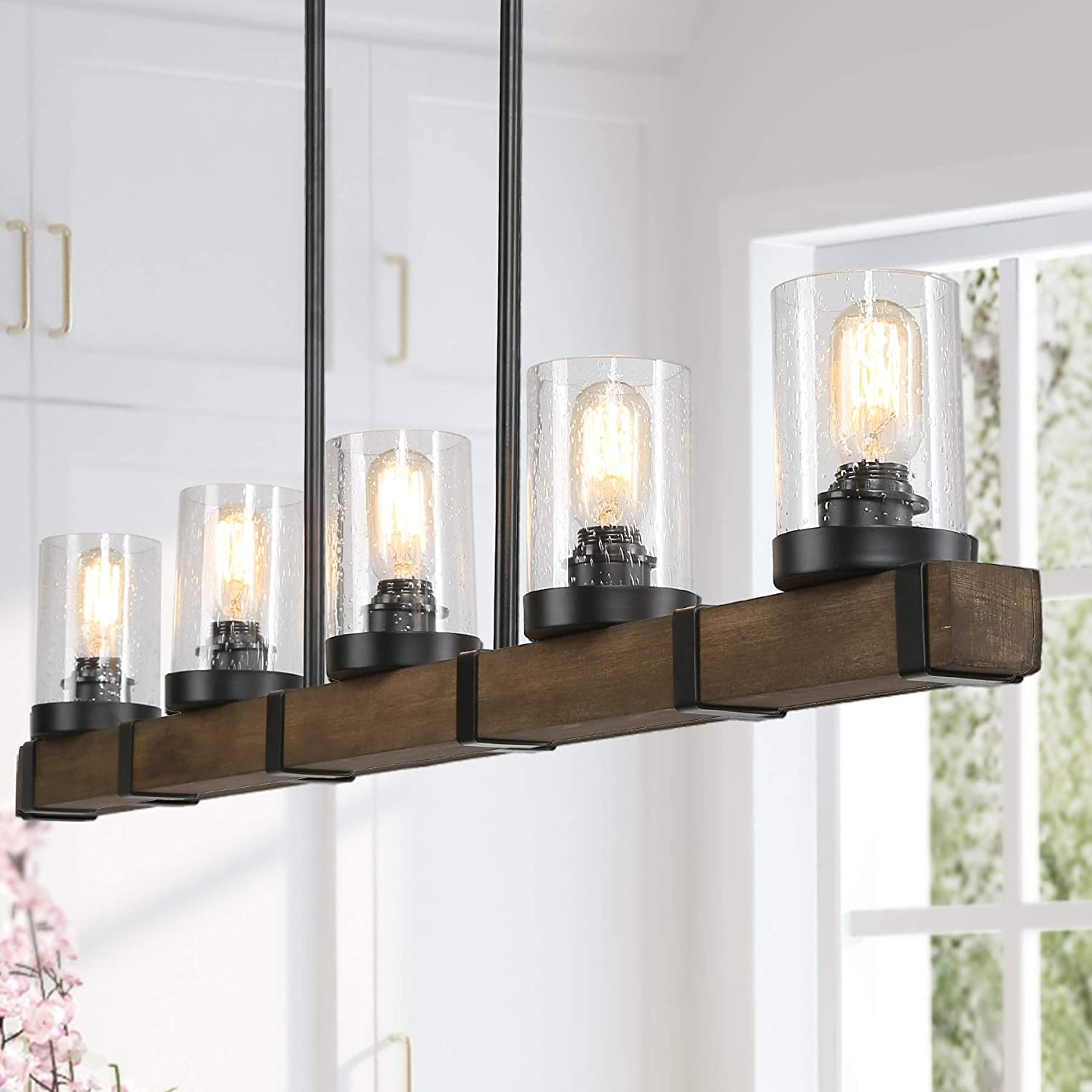 Farmhouse Chandeliers For Dining Room 5 Lights Kitchen Island Lighting Rectangle Wood Chandeliers With Seedy Glass Shape Amazon Com