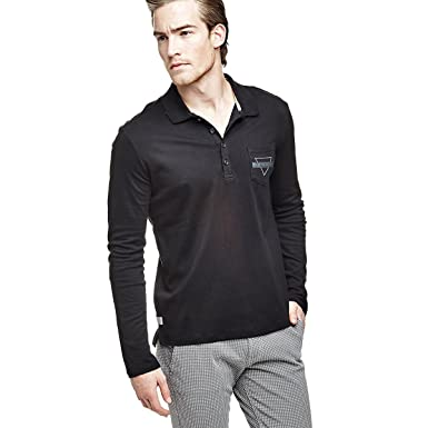 Guess Polo Homme Manches Longues Luke Noir KWIYlb6