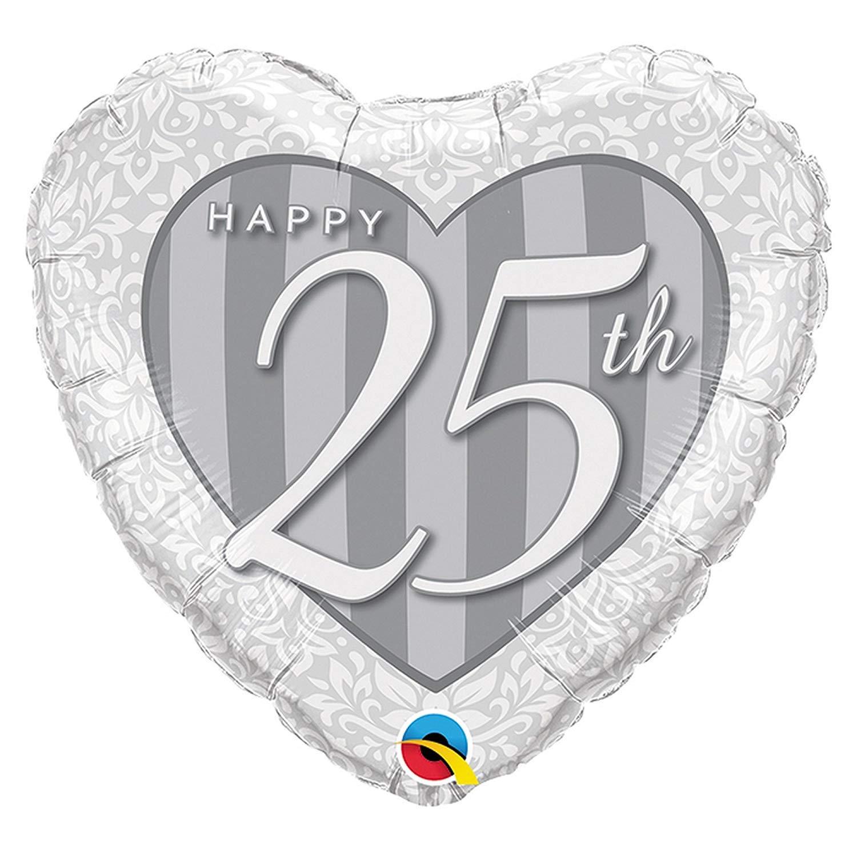 Qualatex Foil Balloon 049109 Happy 25th Damask Heart Multicolor 18
