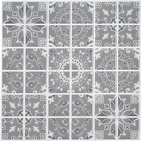 Amazon Com Ecoart Peel And Stick Wall Tile 10 X 10 Self Adhesive Wall Stickers Bathroom Kitchen Backsplash 6 Sheets Grey Pattern Home Kitchen