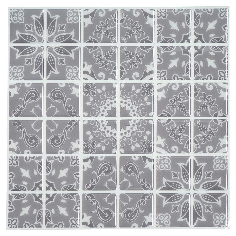 "Ecoart 10"" X 10""Self Adhesive Wall Tile Peel and Stick Wall Stickers Bathroom Kitchen Backsplash Sticker (6 Pack) (Grey Pattern)"
