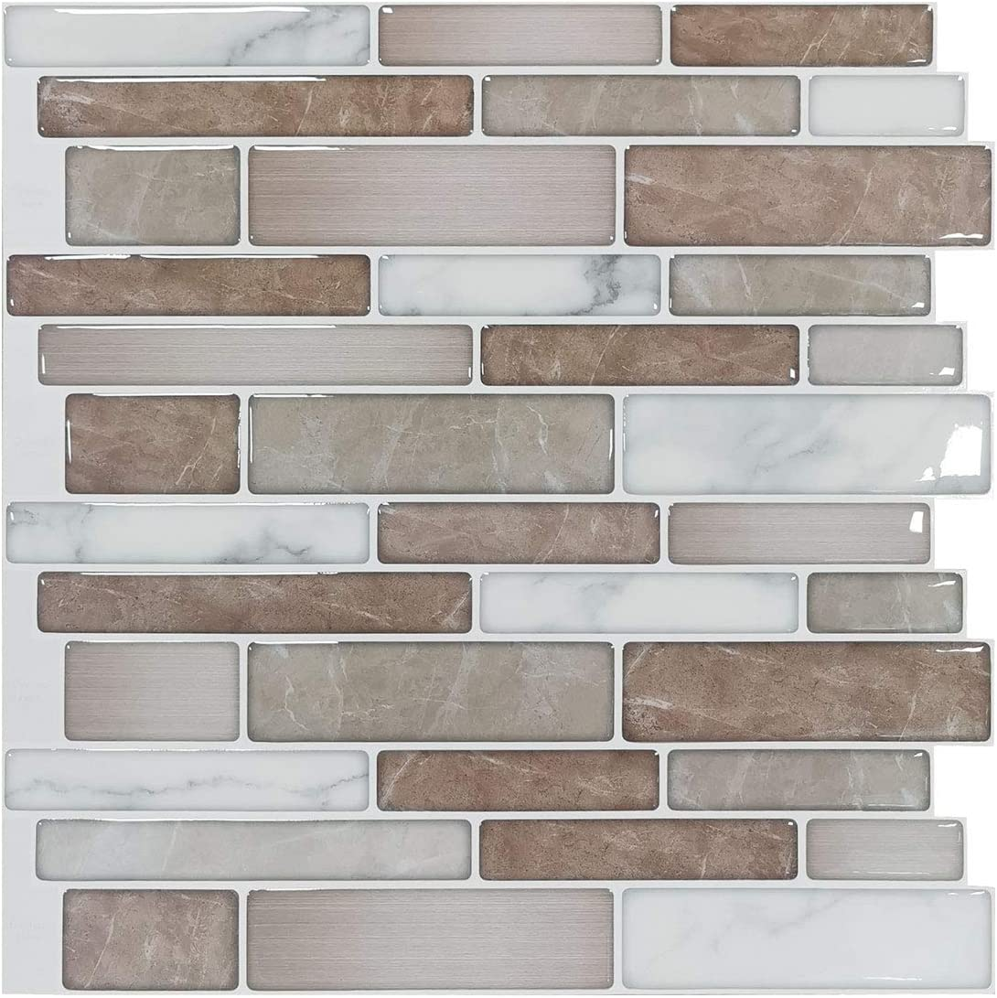 - Art3d 10-Sheet Premium Stick On Kitchen Backsplash Tiles, 12