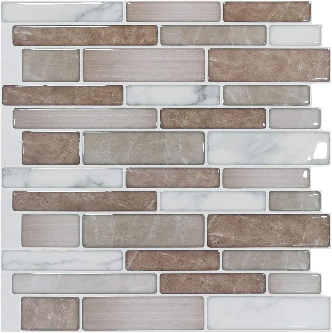 Art3d 10 Sheet Premium Stick On Kitchen Backsplash Tiles 12 X12 Peel And Stick Self Adhesive Bathroom 3d Wall Tiles Marble Design Amazon Com