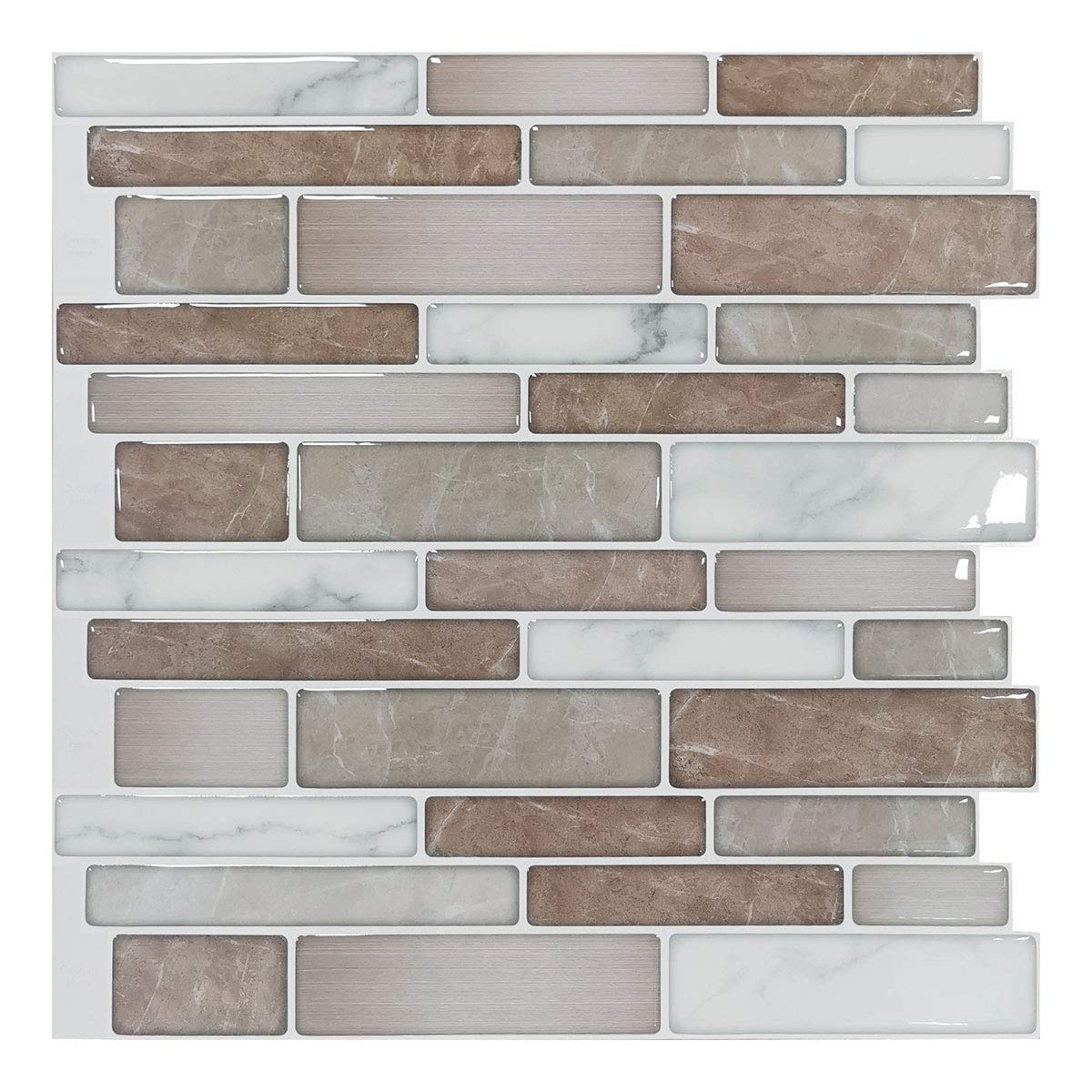 Art3d 10-Sheet Premium Stick On Kitchen Backsplash Tiles, 12''x12'' Peel and Stick Self Adhesive Bathroom 3D Wall Sticker by Art3d