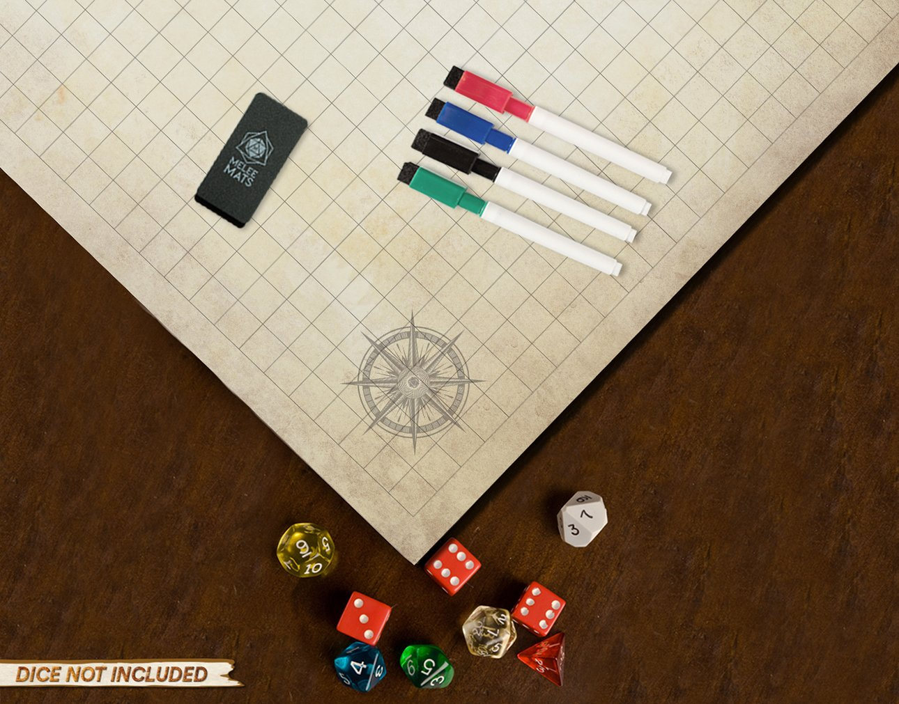 Battle Grid Game Mat - ULTRA DURABLE POLYMER MATERIAL - JUMBO Role Playing DnD Map - Reusable Table Top Non Hex Mats - RPG Dungeons and Dragons Dry Erase Tiles - Large Set for Starters and Masters by Evolve Skins (Image #6)