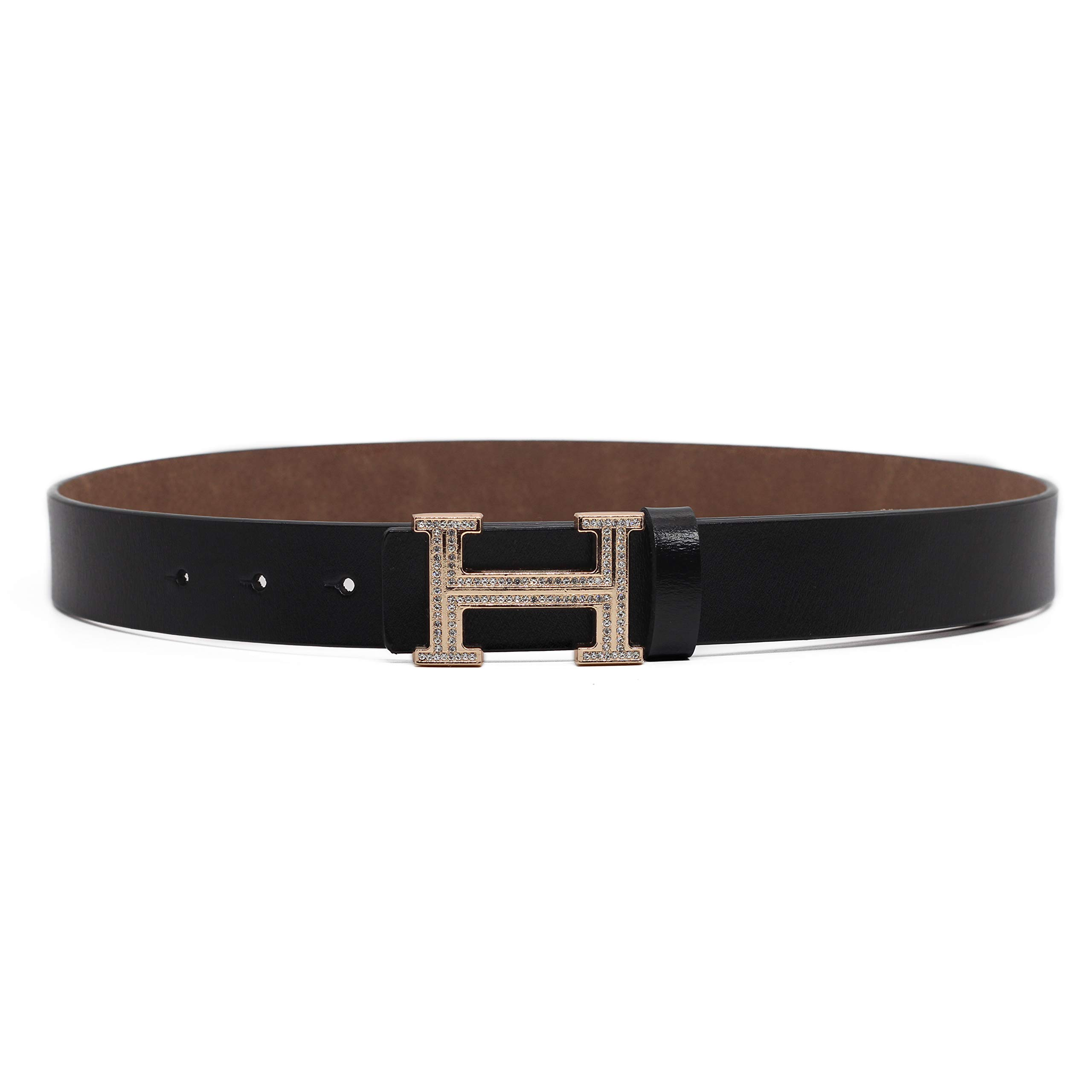 Women's Cowhide Leather Belt Fashion Buckle for Pants Jeans Shorts Ladies Design Genuine Belts (110cm/43.3'', pants size 29''-34'', Style 2- Black) by DUOAI (Image #2)